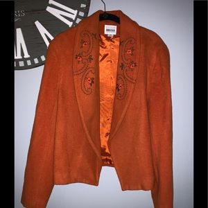 Leslie Fay orange embroidered blazer size 12